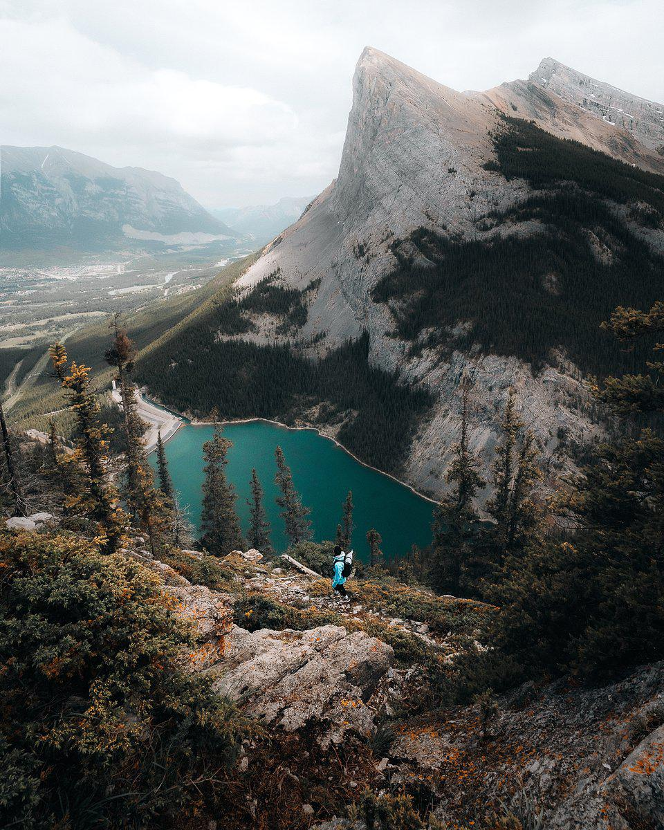 Panoramic of East End of Rundle Hike, Rocky Mountains, Canada