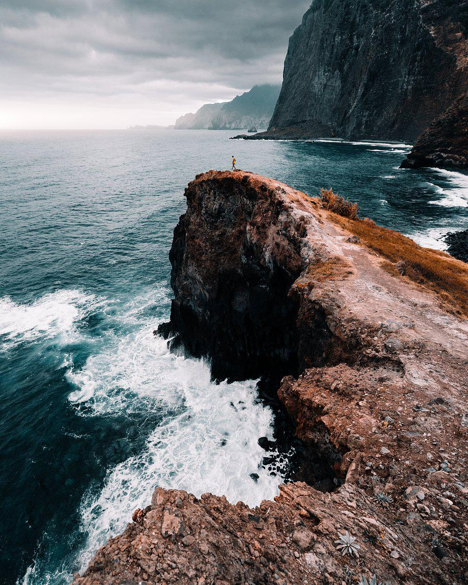 Panoramic viewof the sea from high rocks in Santana, Madeira, Portugal