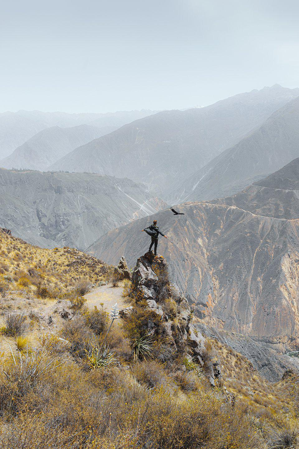A person high in the Andes Mountains in Colca Canyon, Peru