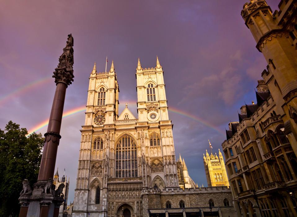 Westminster Abbey, London, England. Double rainbow.