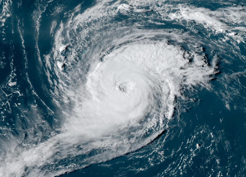 A visible satellite image of Hurricane Paulette near Bermuda on September 13, 2020.