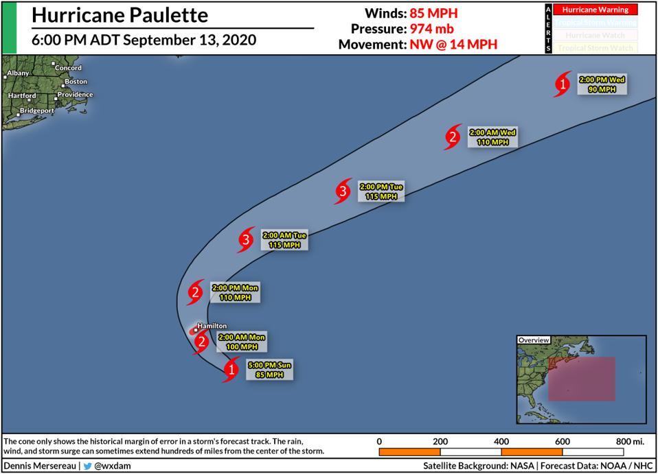The National Hurricane Center's forecast for Hurricane Paulette on September 13, 2020.