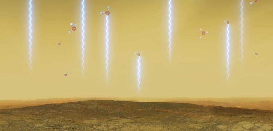 This artistic illustration depicts the Venusian surface and atmosphere, as well as phosphine molecules.