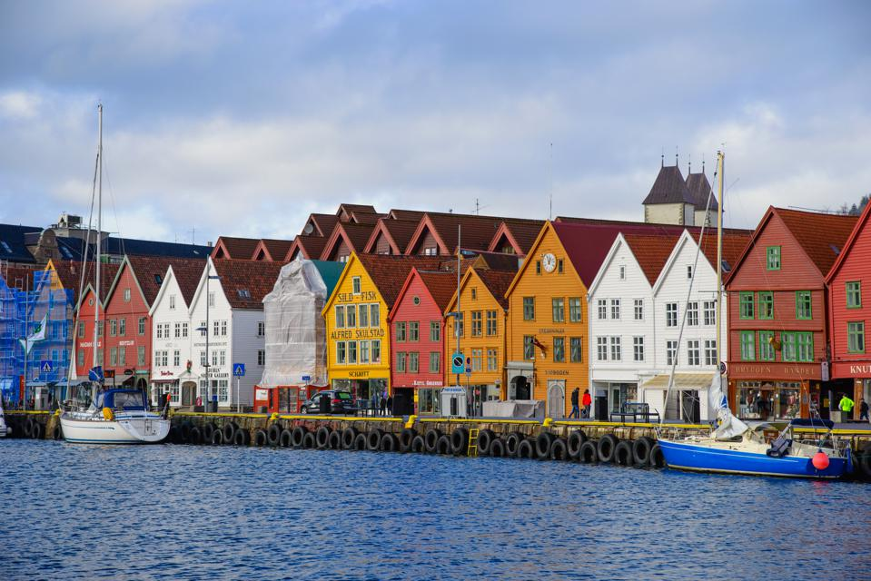 Famous Bryggen street with wooden colored houses in Bergen, Norway