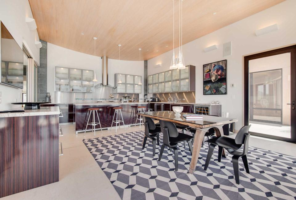 A modern kitchen with plenty of natural light.
