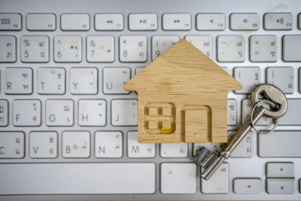 House model in shopping on laptop.