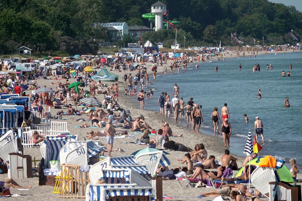 Sun and bathers at the Baltic Sea - Timmendorfer Strand Germany
