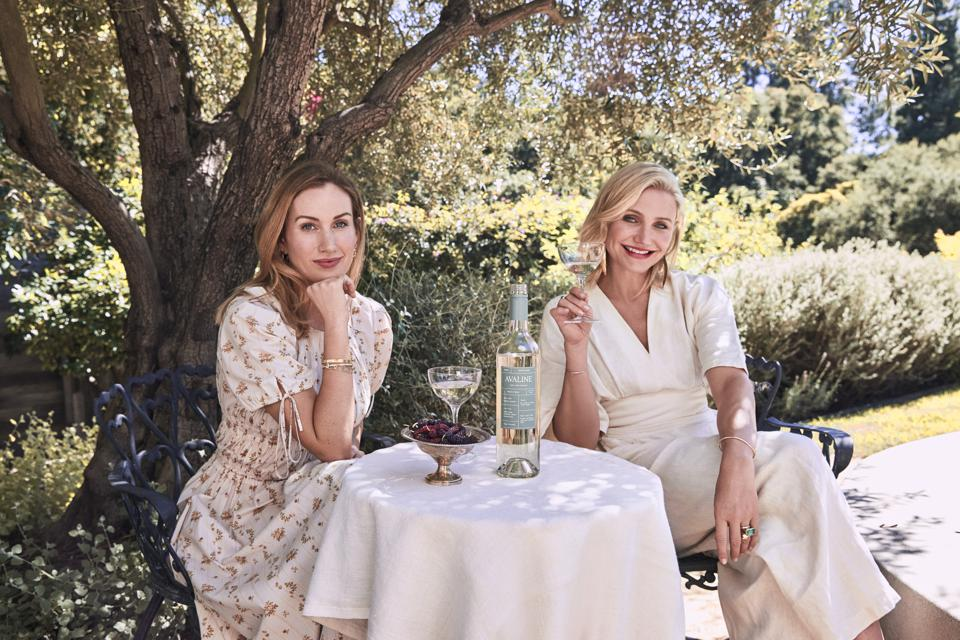 Katherine Power and Cameron Diaz enjoy a glass of their red wine under the shade of a tree