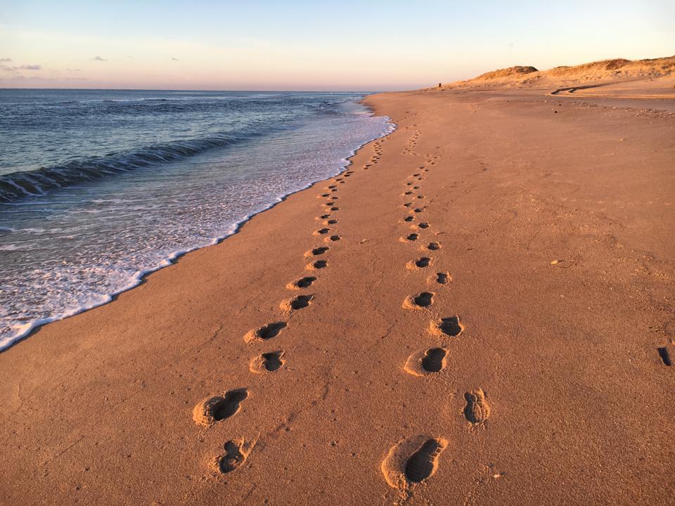 Footprints on the beach at Amagansett, New York.