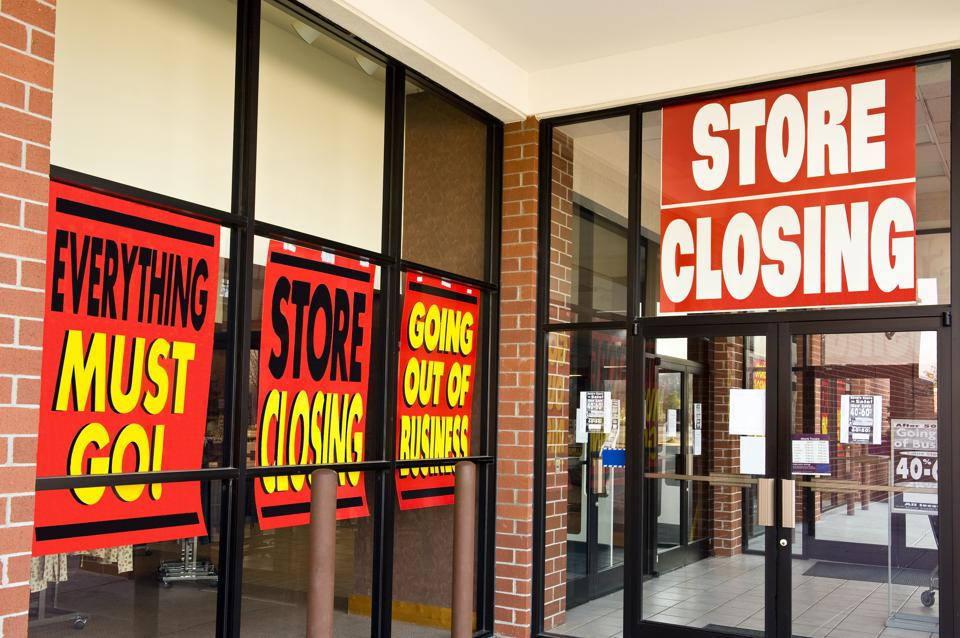 Lots of store closing signs in Windows