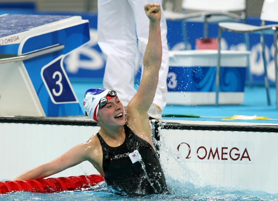 Liz Johnson celebrates after winning gold at the 2008 Beijing Paralympic Games