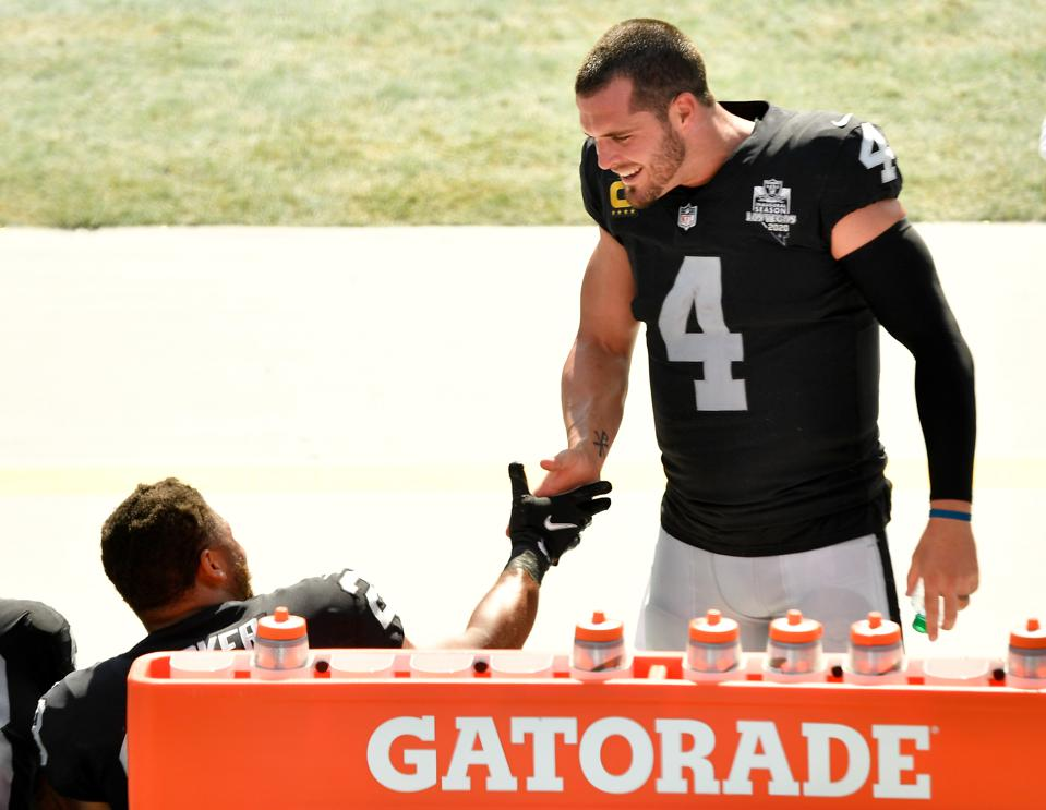 Derek Carr during Raiders Week 1 win over the Panthers.