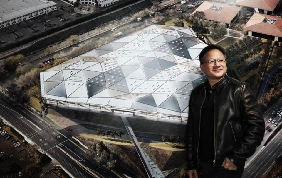 Figure 1: Co-founder and CEO Jensen Huang in front of a rendering of the company's new headquarters, Endeavor.