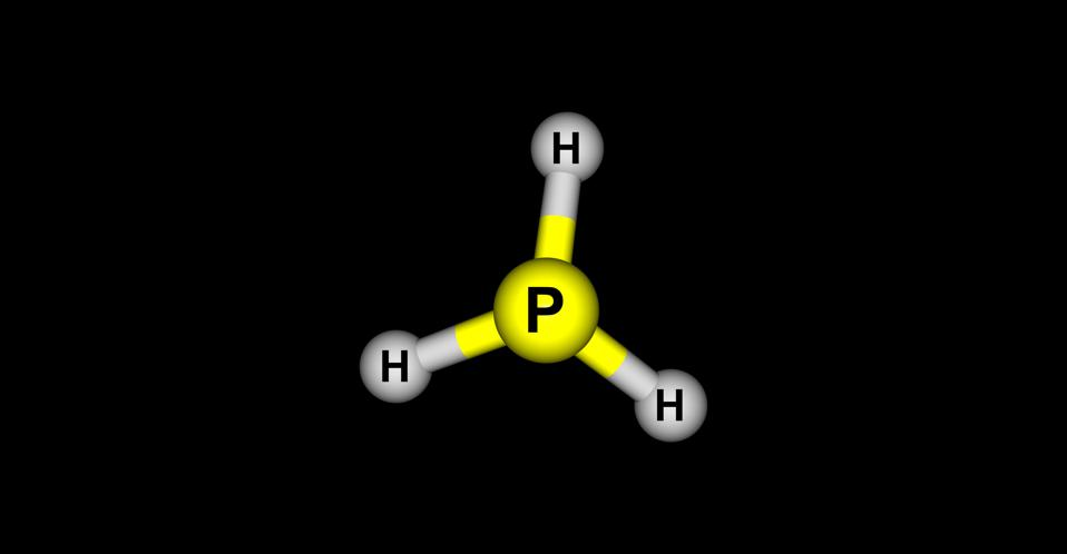 Phosphine molecular structure isolated on black background.