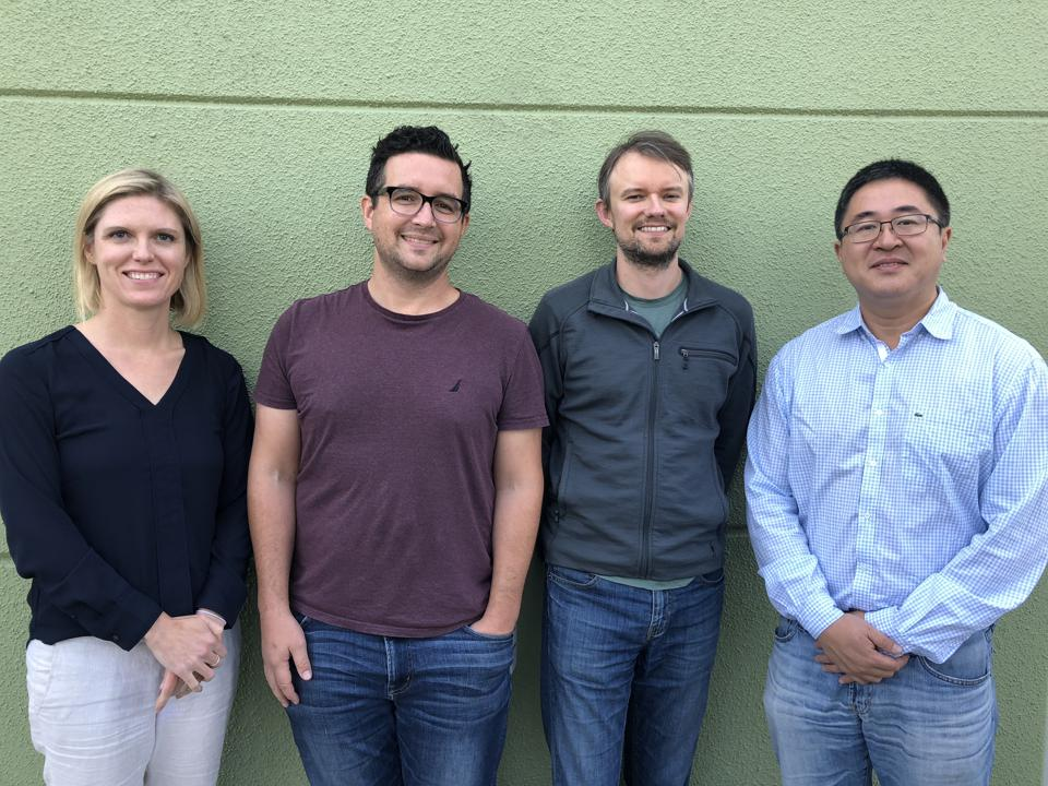 Hexgon Bio founders Maureen Hillenmeyer, Colin Harvey, Brian Naughton and Yi Tang