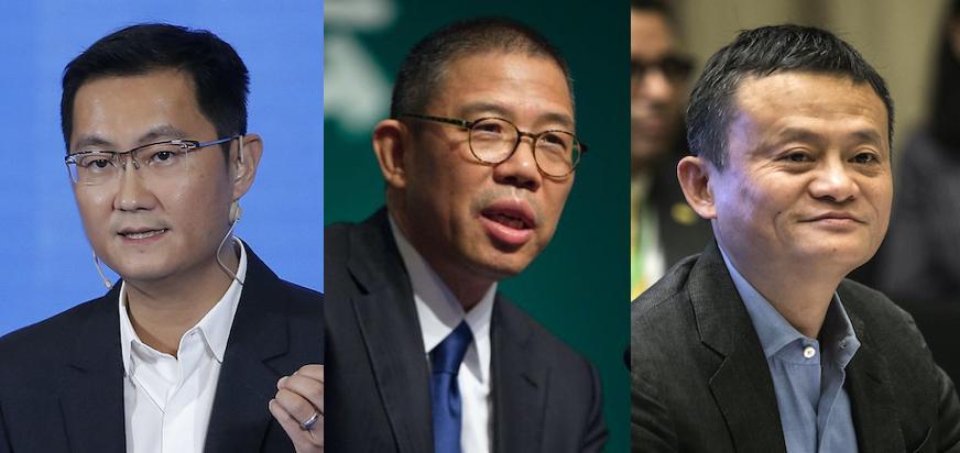 Pony Ma, Zhong Shanshan and Jack Ma.