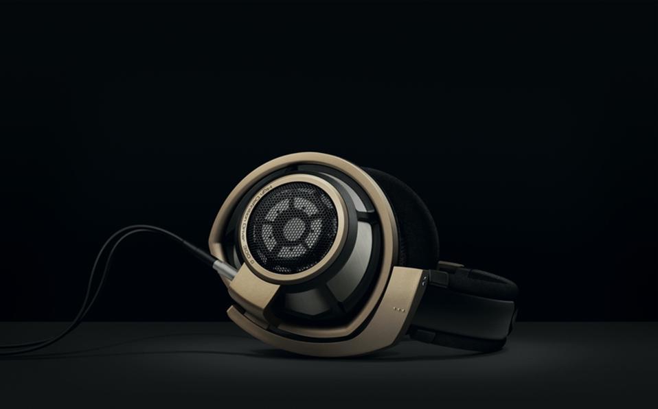 Sennheiser HD800 S headphones on a black background