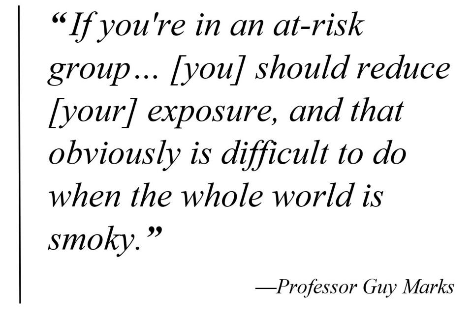 Pull quote:″If you're in an at-risk group...you should reduce your exposure, and that obviously is difficult to do when the whole world is smoky.″