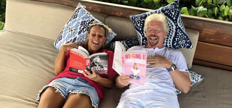 Emma Isaacs and Sir Richard Branson reading Winging It