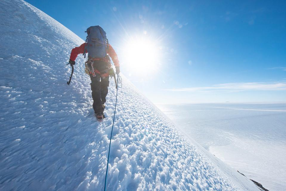 Ice climbing in one of the most remote places on Earth