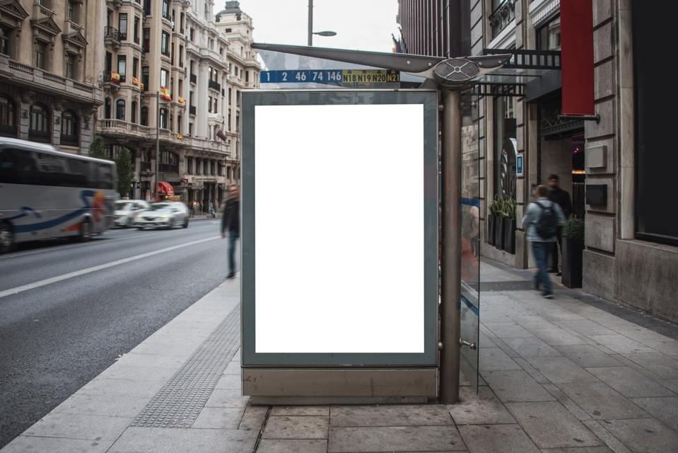 Bus stop with billboard