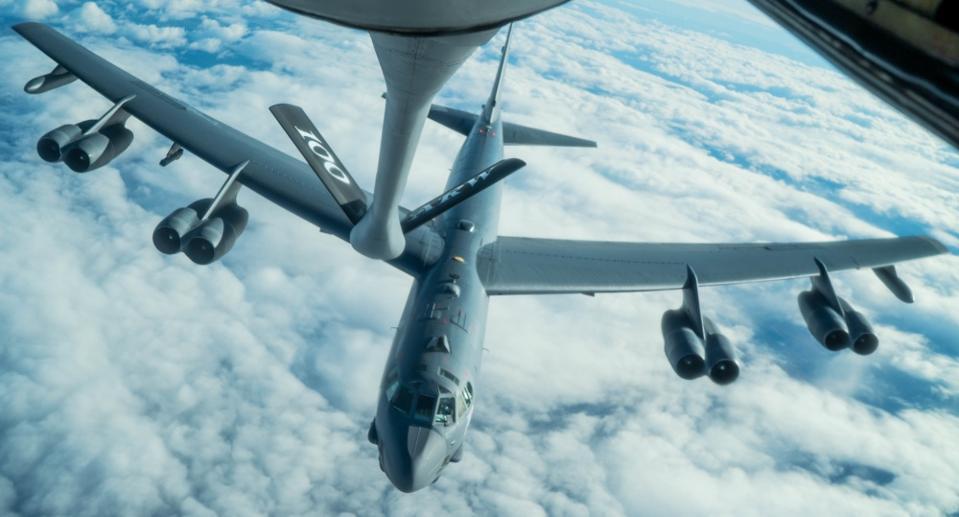 B-52 bomber in flight over Europe.