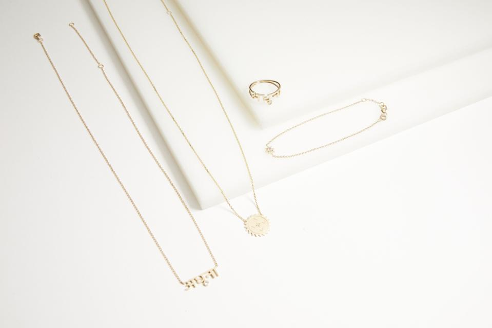 The capsule collection features four pieces of jewelry