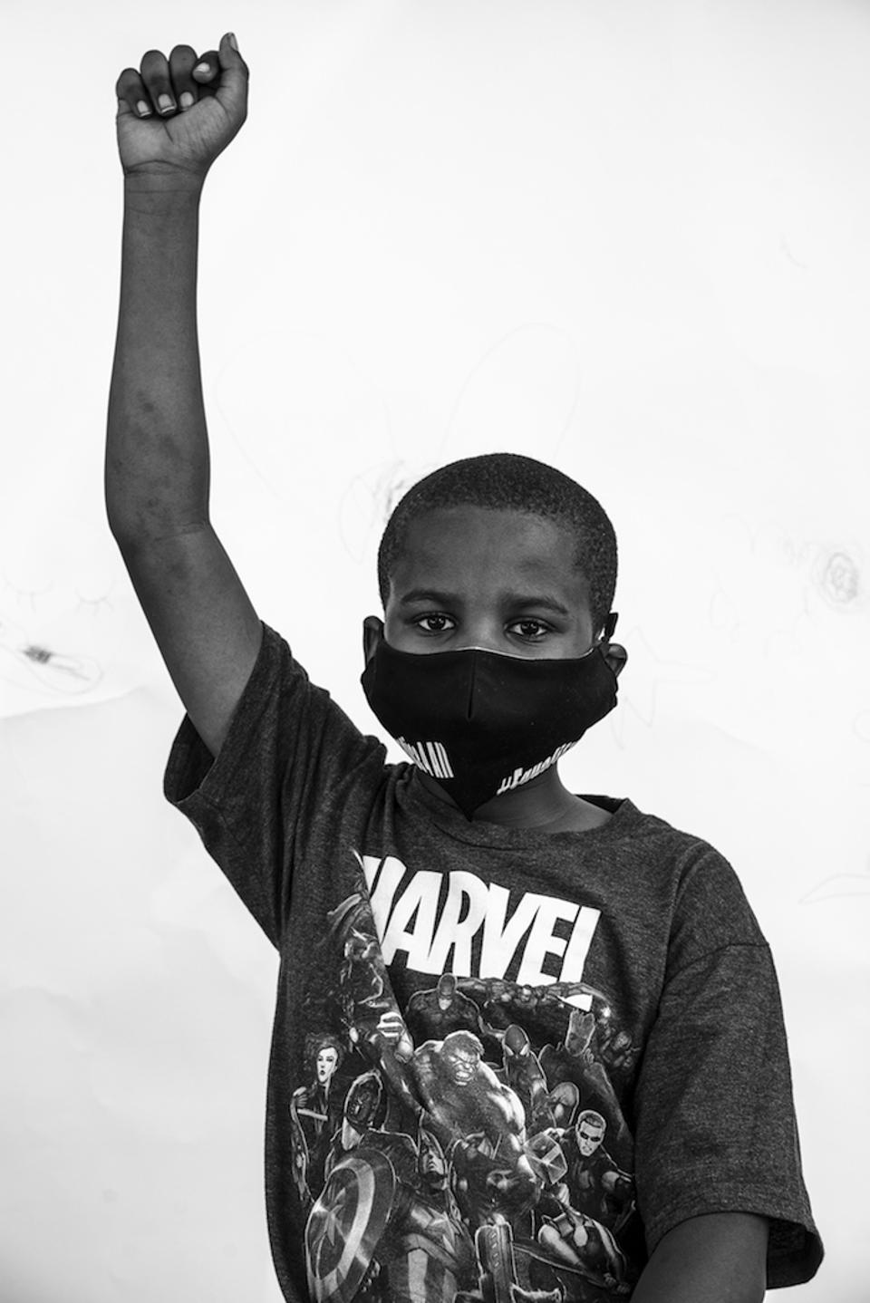 Xavier, 9, at the Stroll for Freedom in Bedford-Stuyvesant, Brooklyn, New York in June 2020.