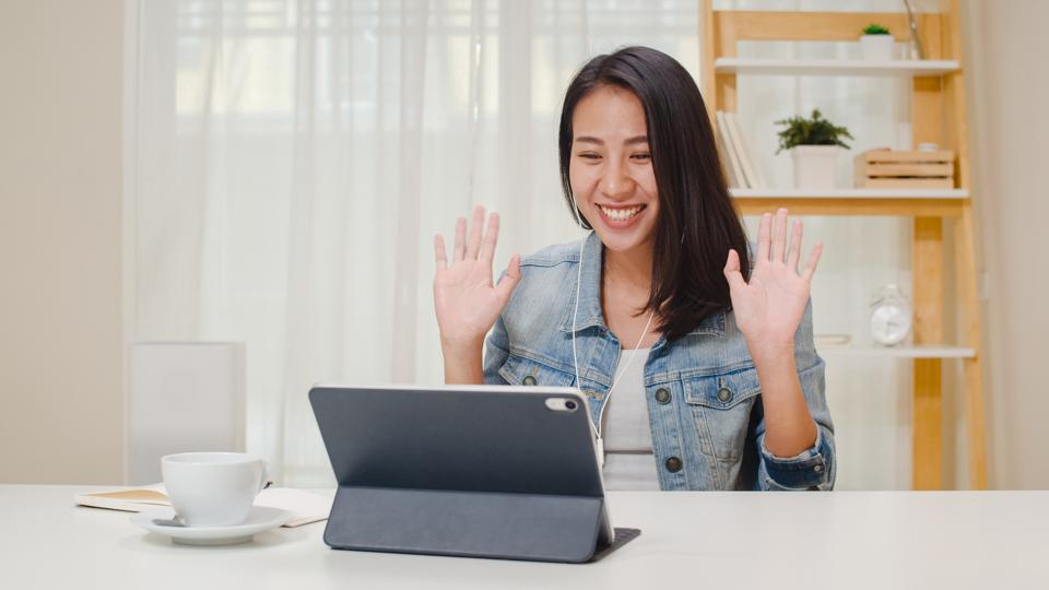 College student working remotely on social media campaigns