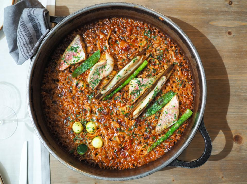 Closeup of fish and seafood paella in Barcelona