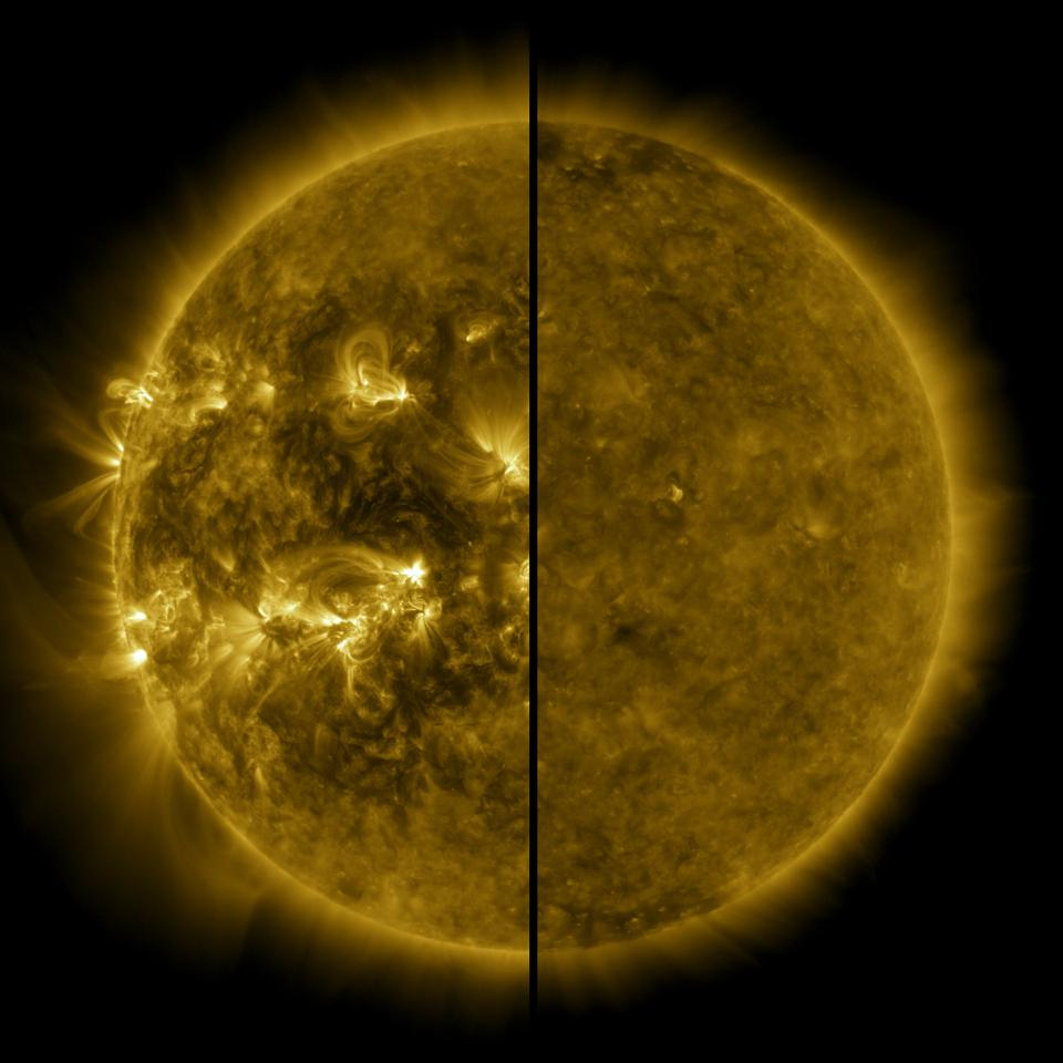 This split image shows the difference between an active Sun during solar maximum (on the left, captured in April 2014) and a quiet Sun during solar minimum (on the right, captured in December 2019).