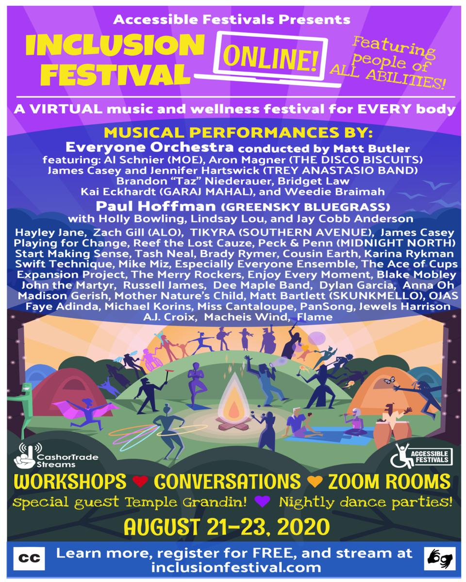 A festival poster for Inclusion Festival, with a list of performers and workshops.