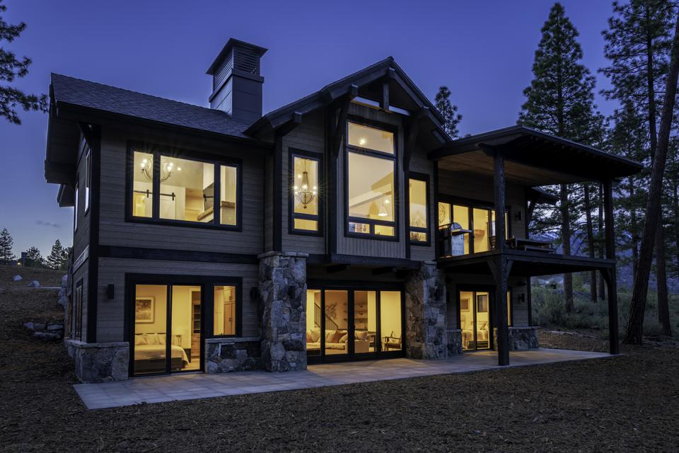 This newly constructed 2,818-square-foot mountain cottage at Clear Creek Tahoe features spectacular views.