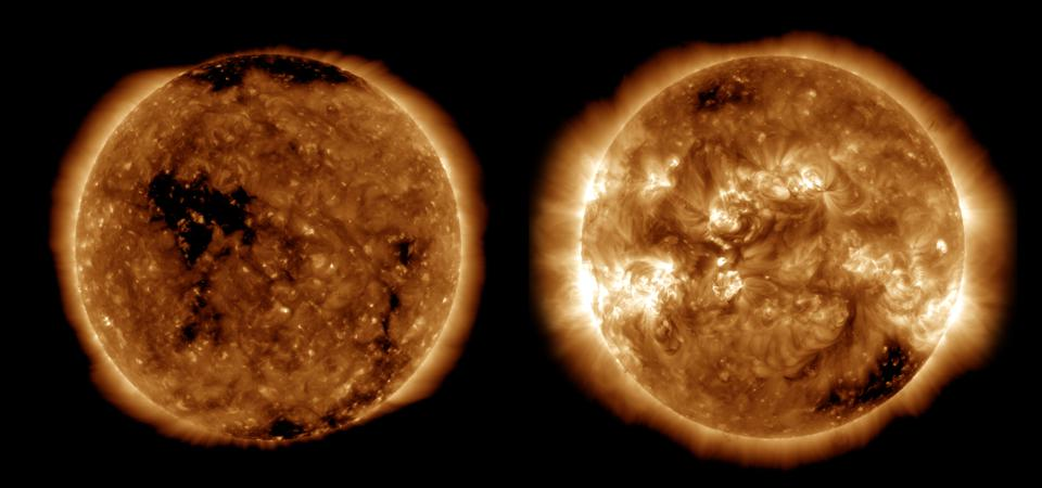 Images from NASA's Solar Dynamics Observatory show the Sun near solar minimum in October 2019 and the last solar maximum in April 2014.