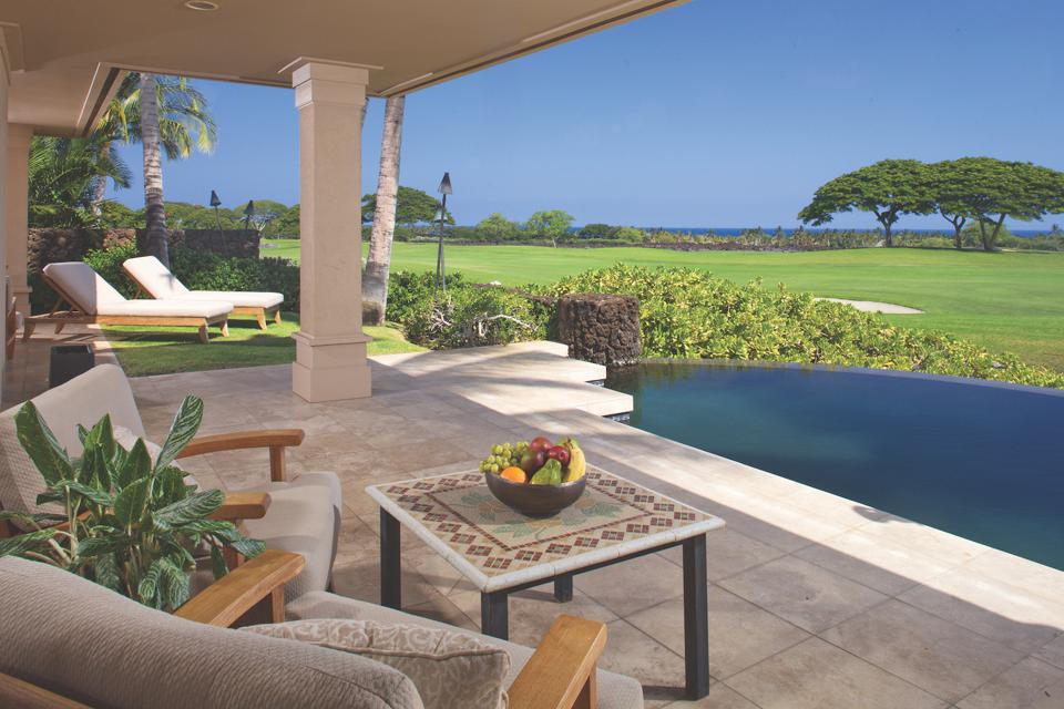Located at Hualālai Resort, this three-bedroom furnished home overlooks the 9th fairway of the Hualālai Golf Course.