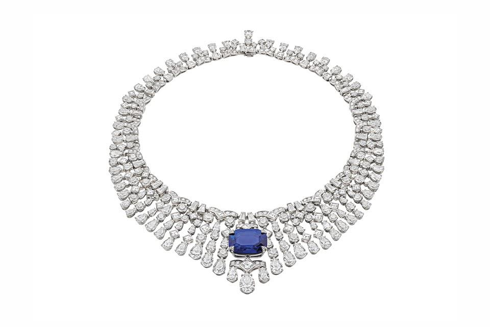 Bulgari High Jewelry necklace in platinum with 31.47 carats blue sapphire and 109.63 carats diamond, price on request, bulgari.com