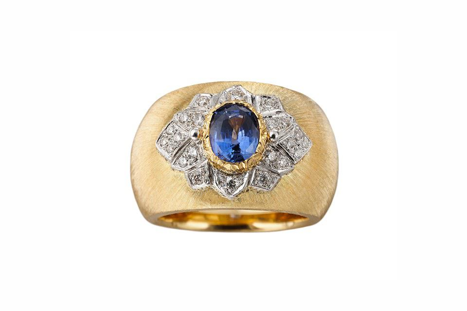 Buccellati Band Ring in 18K yellow and white gold with 1.03 carats blue sapphire and 0.26 carats diamond, $12,000, buccellati.com