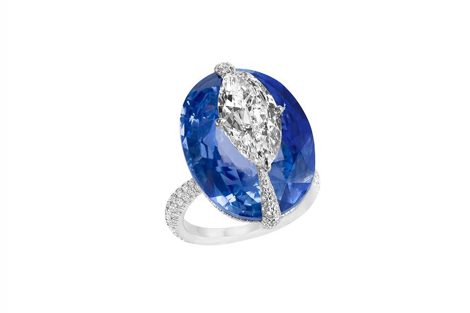 Boghossian Kissing ring in 18K white gold with blue sapphire and diamond, price on request, boghossianjewels.com