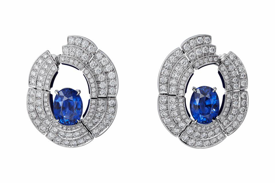Cartier [Sur]Naturel High Jewelry earrings in 18K white gold with 9.22 carats Madagascar sapphire, lapis lazuli, and diamond, price on request, cartier.com