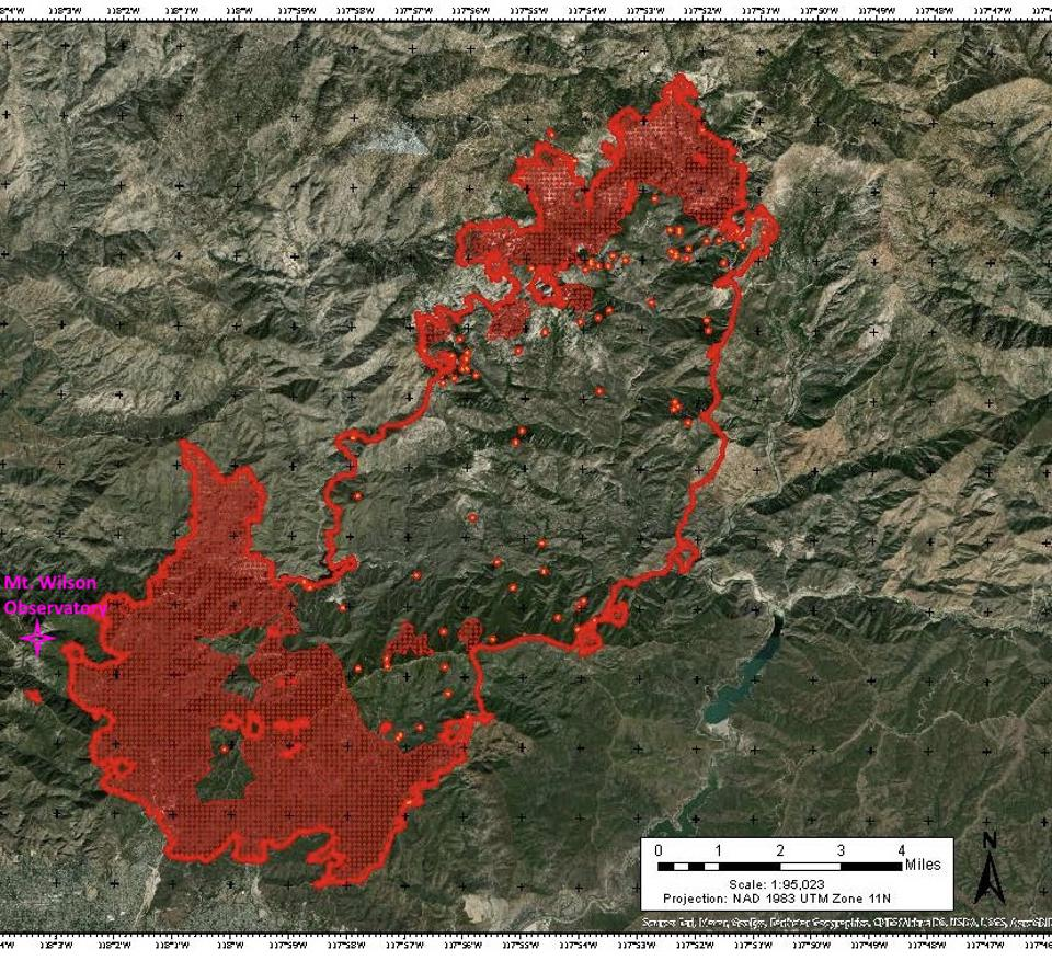 Map of the Bobcat Fire on September 15, 2020, with Mount Wilson Observatory shown.