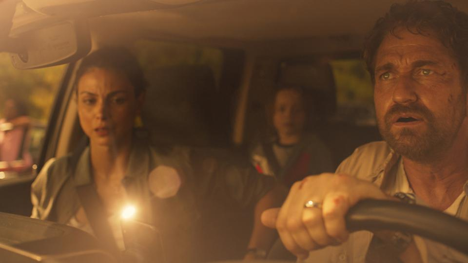 Morena Baccarin, Roger Dale Floyd and Gerard Butler in 'Greenland.'