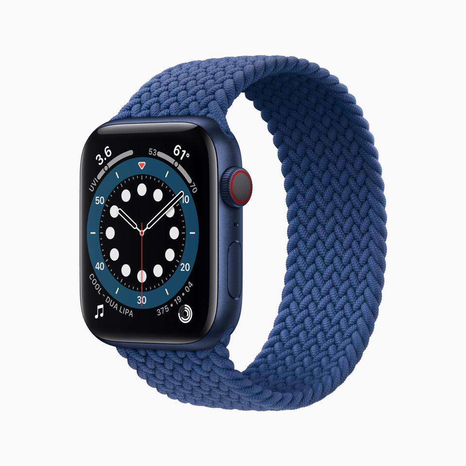 Apple Watch Series 6 with Braided Solo Loop band.