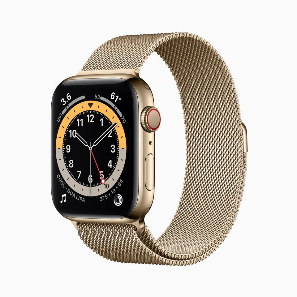 Apple Watch Series 6 in new, refined gold stainless steel finish.