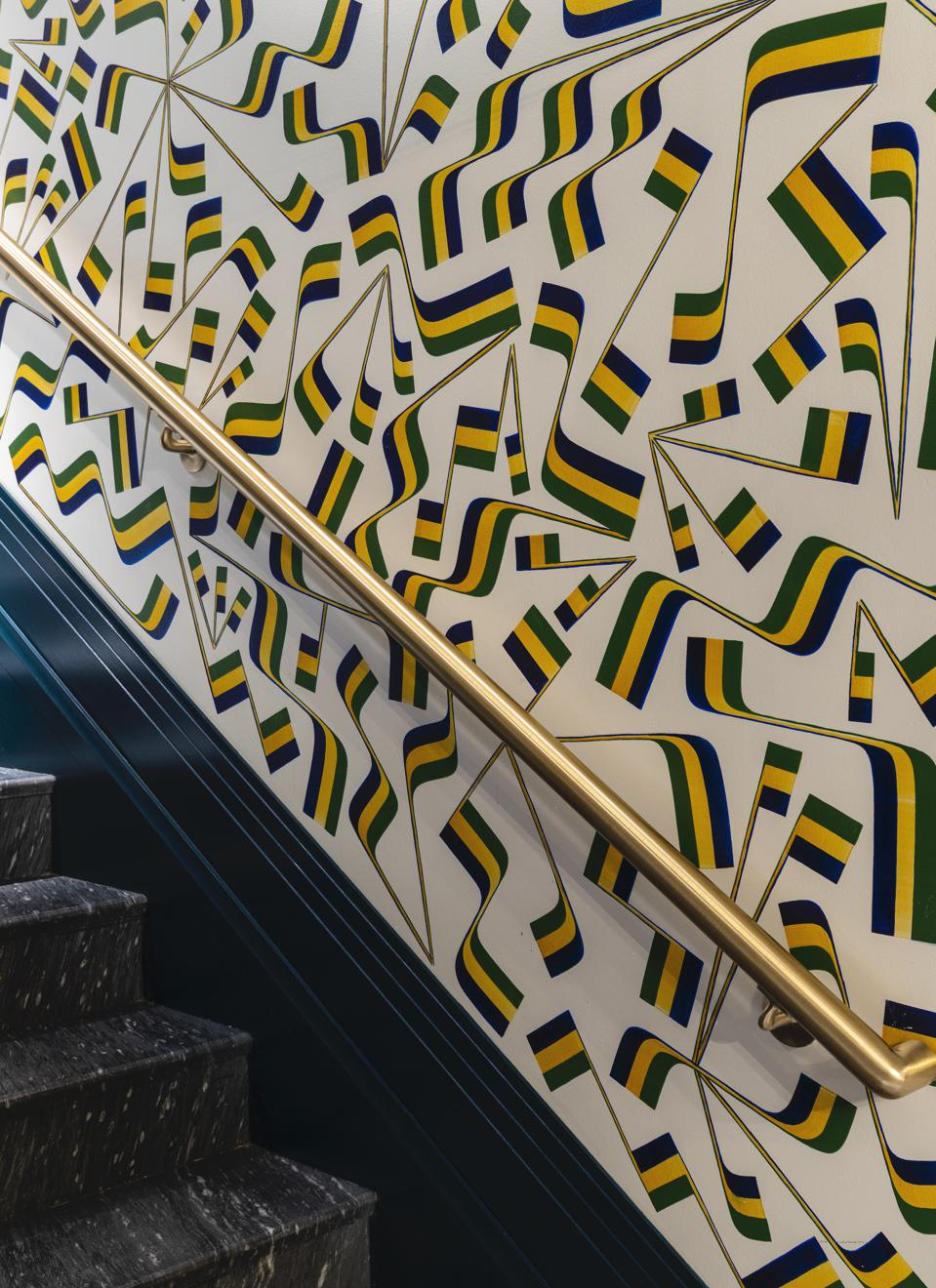 flag mural on staircase
