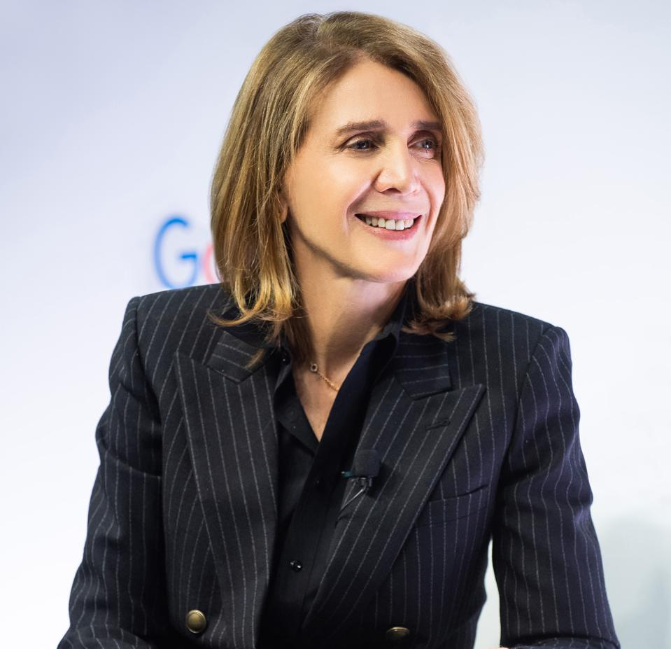 Ruth Porat, CFO of Alphabet & Google, speaking during a visit to Google's Toronto office in February 2020.