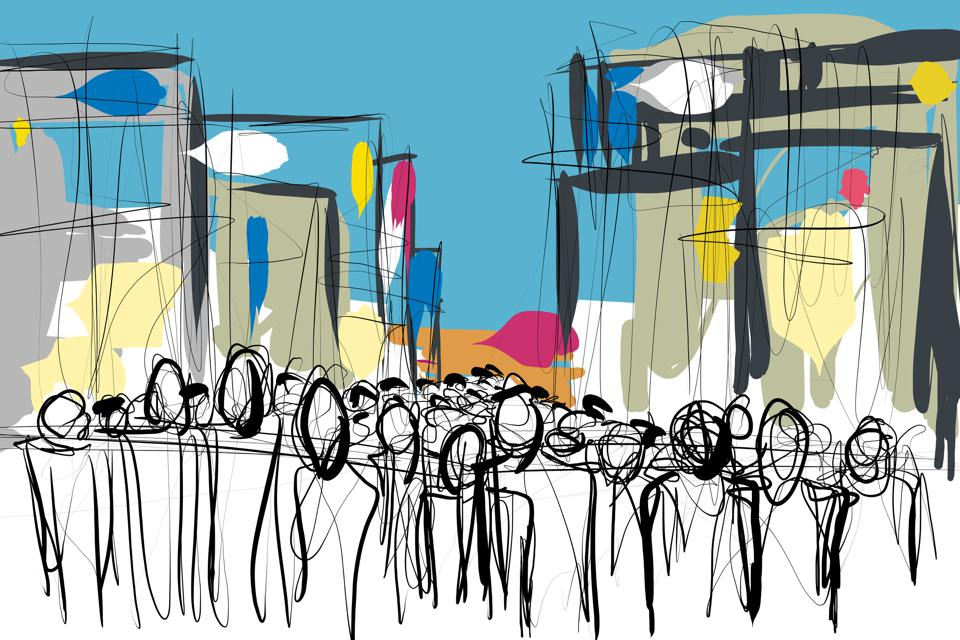 crowd of people doodle sketch
