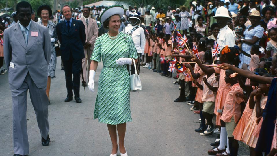 Queen Elizabeth II in Barbados in 1977