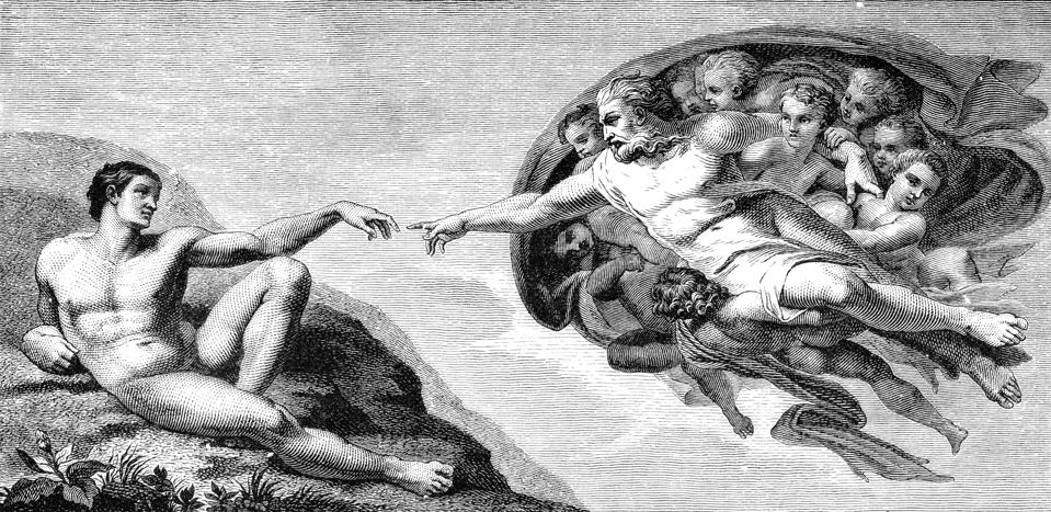 Michelangelo's The Creation of Man from the ceiling of the Sistine Chapel