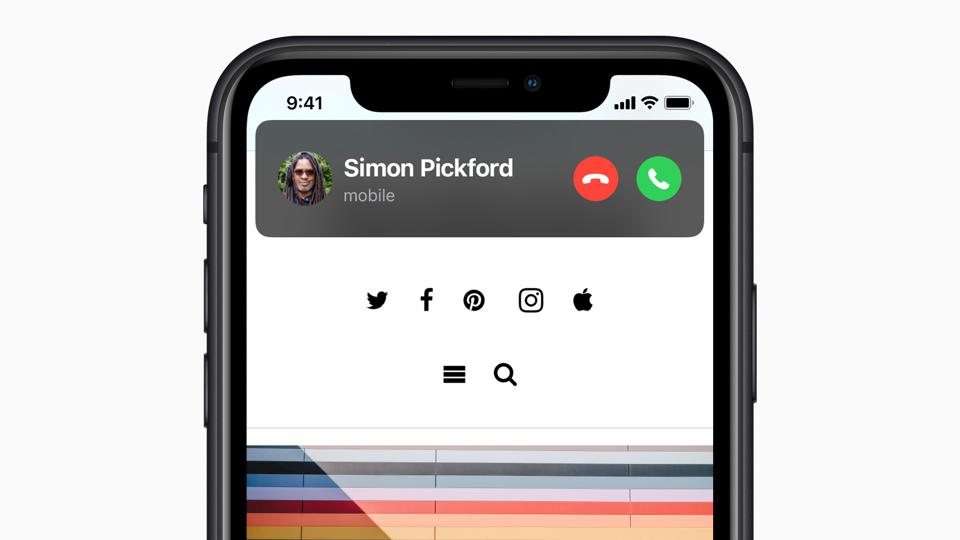 In iOS 14, an incoming call doesn't take over the whole display