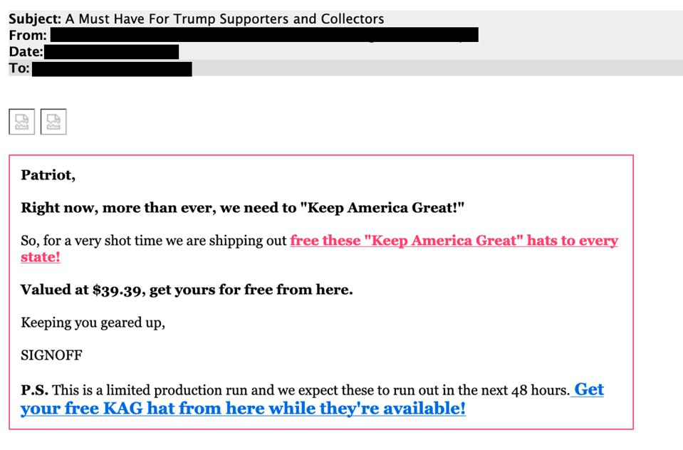 A phishing email targeting Trump supporters with an offer of a free Keep America Great hat